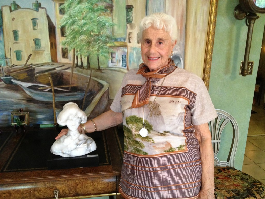 Thelma with one of her first sculptures