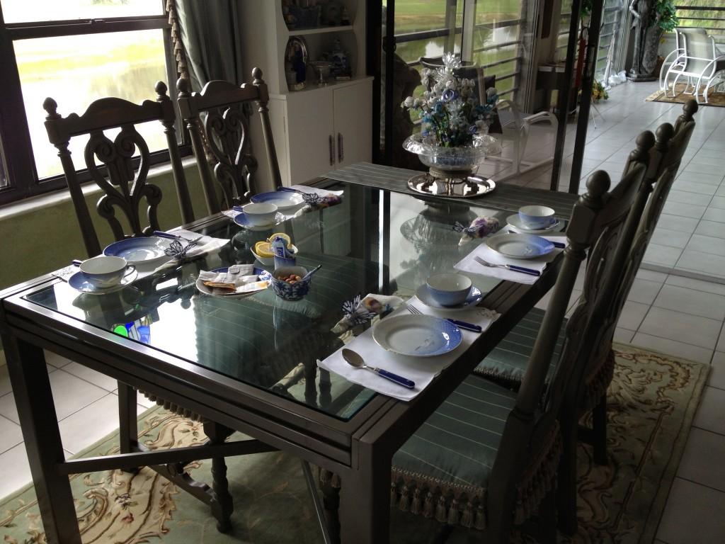 Table Set for tea. Far right is vase of Thelma's Hand made flowers with glass seed beads