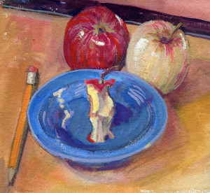 """Apples with Core"" Gouache/Opaque by Anita Lovitt"