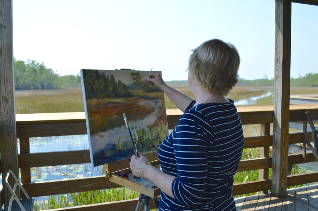 Kerry Ericksen painting at Grassy Waters Preserve in W. Palm Beach