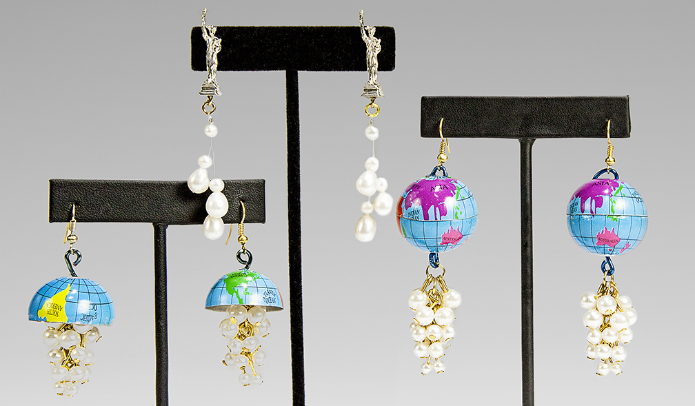 "Globe and ""Liberty Line"" earrings by Debbie Mostel"