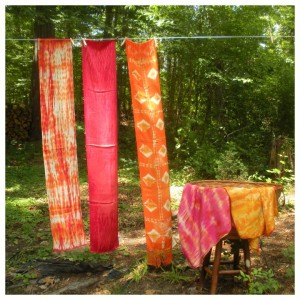 Recently Dyed Fabrics Drying