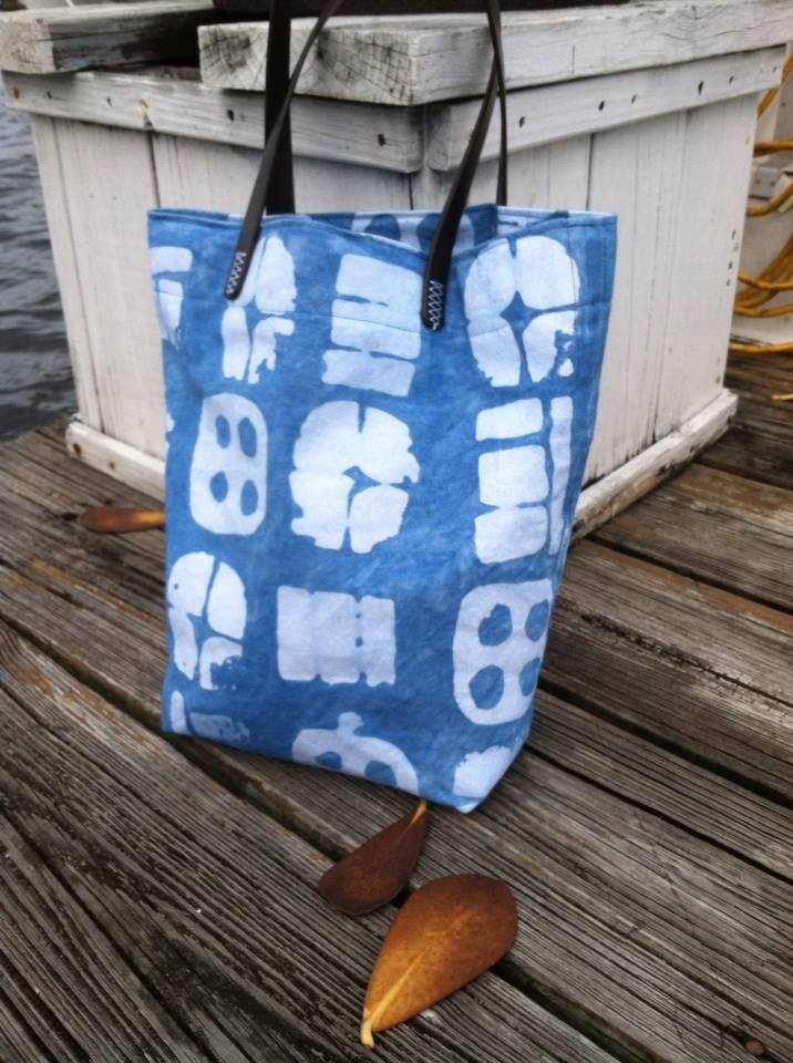 Batik Cotton Canvas Tote with Leather Handles