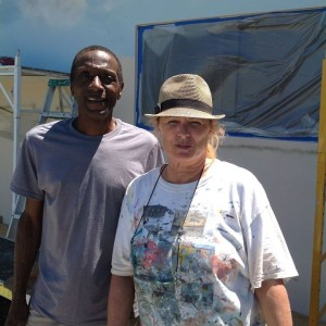 Highwayman, Jimmy Stovall works with Muralist in Hobe Sound at Jenkins Landscaping