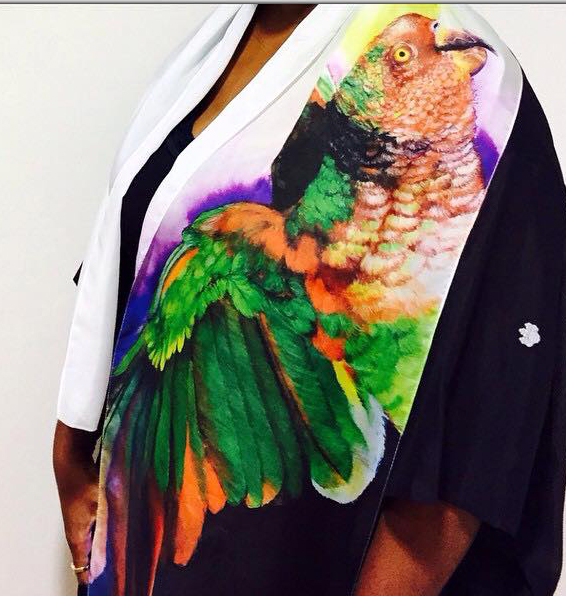 Close-up of Anthony Burks Sr.'s Parrot Scarf