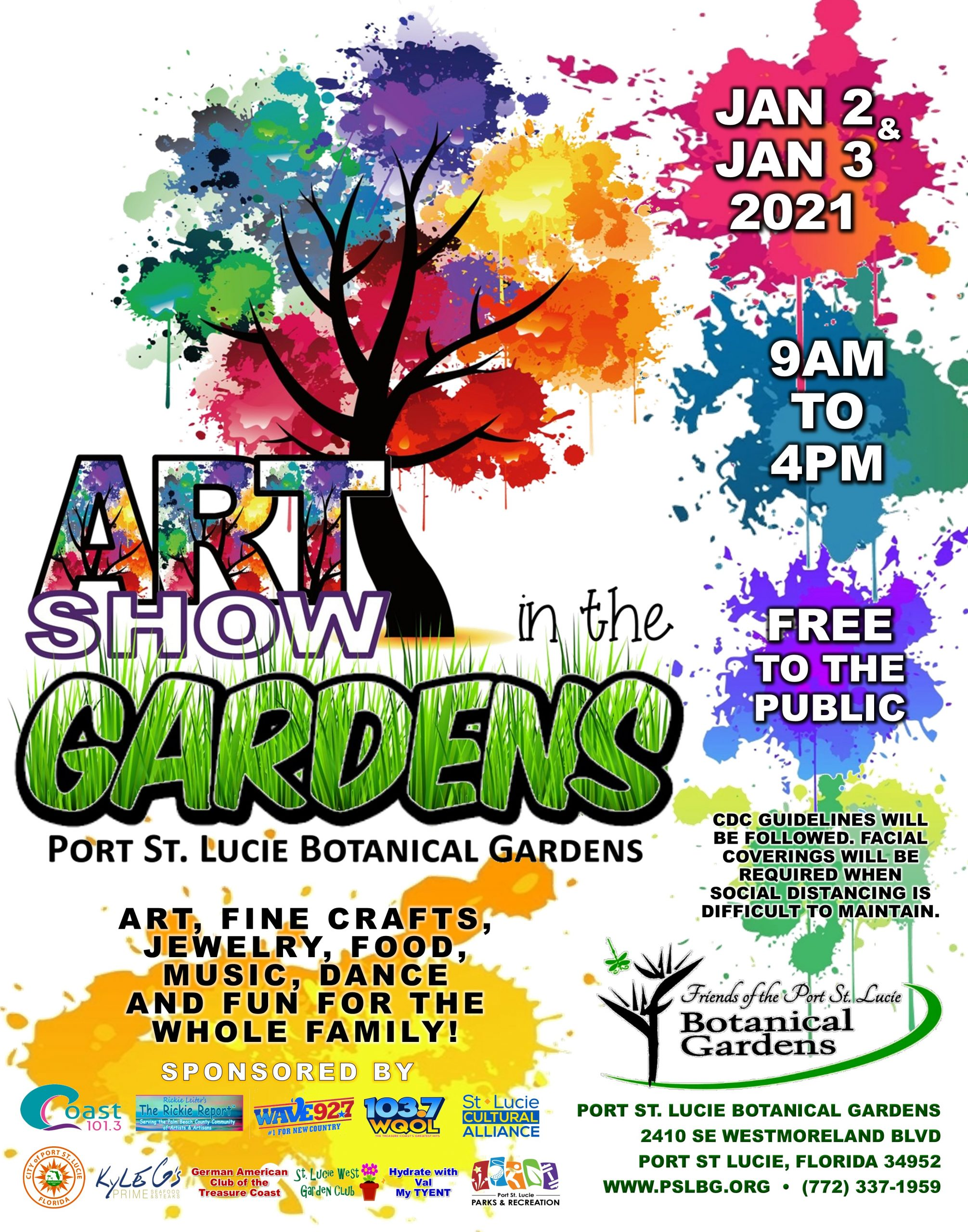PSLBotanical2021 Art Show In The Gardens Flyer with Sponsors scaled - Port St Lucie Botanical Gardens Jazz